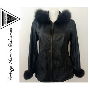Vintage Marvin Richards Black Leather and Fox Fur